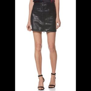 NWT PAIGE Jamine Zip-Front Denim Skirt w Sparkle